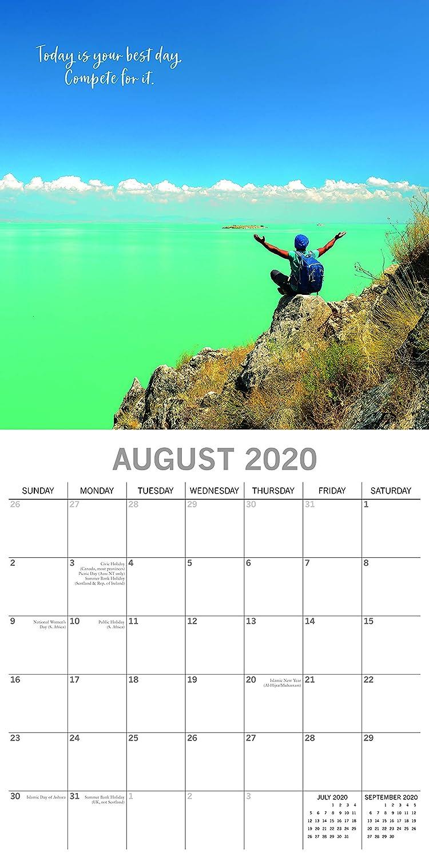 visualizzazione mensile include 180 adesivi promemoria 16 mesi Calendario da parete 2020 Carpe Diem tema motivazionale 30,5 x 30,5 cm