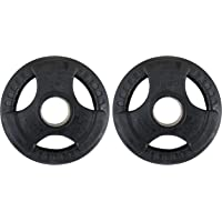 Kobo Olympic Barbell Fitness Premium Quality Rubber Coated Tri-Grip Plate 51 mm & Integrated Metal Grip Rubber Weight Plates - Sold in Pairs (Imported)