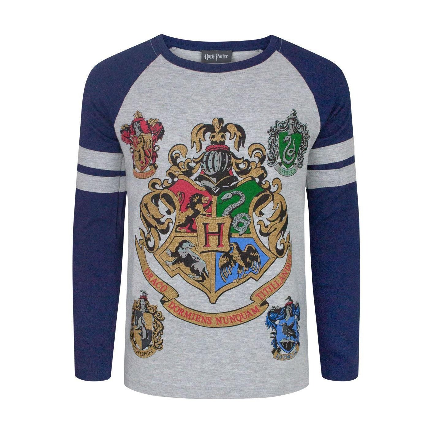 Harry Potter Hogwarts Boy's Raglan T-Shirt Fashion UK