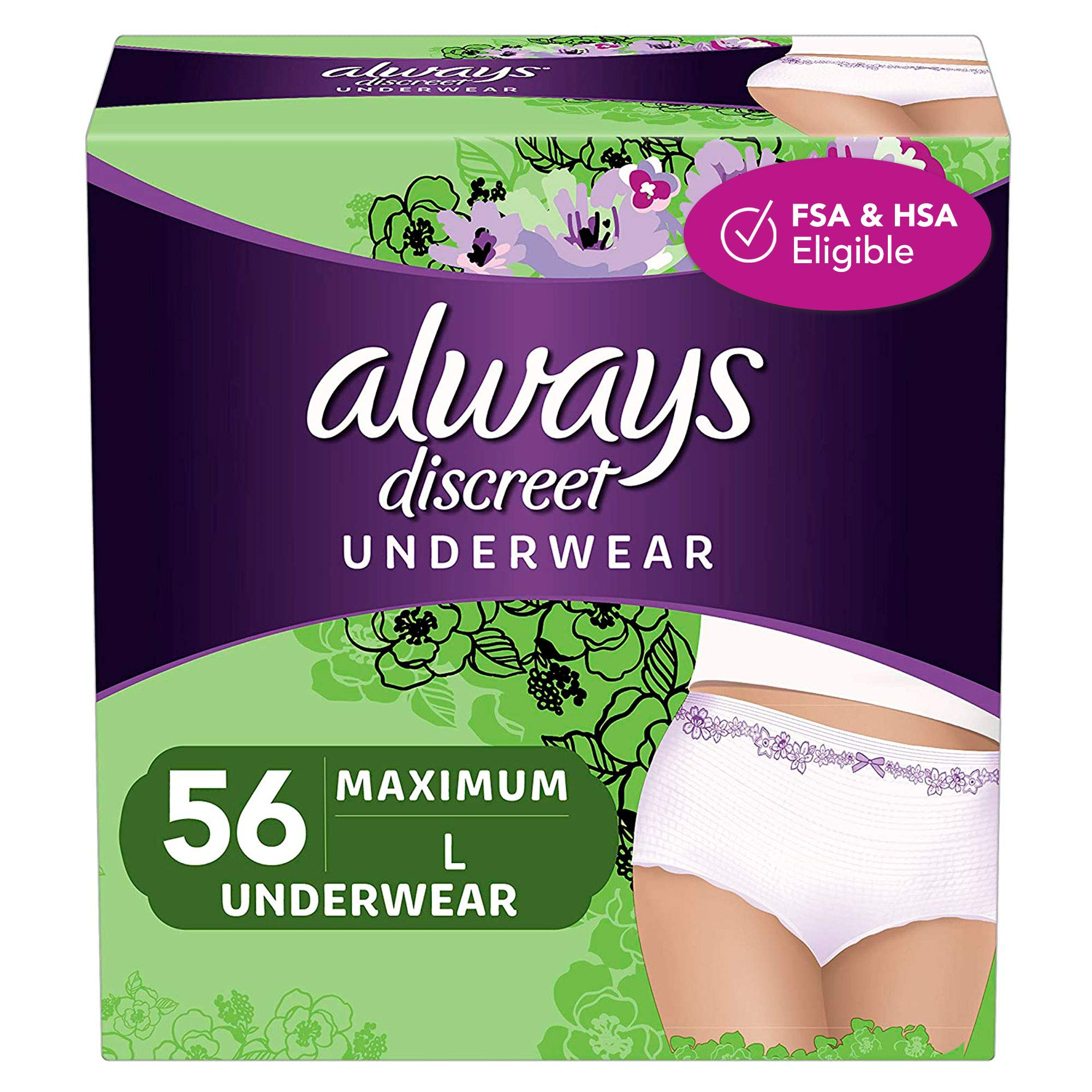 Always Discreet Incontinence & Postpartum Incontinence Underwear for Women, Large, Maximum Protection, Disposable, 56 Count