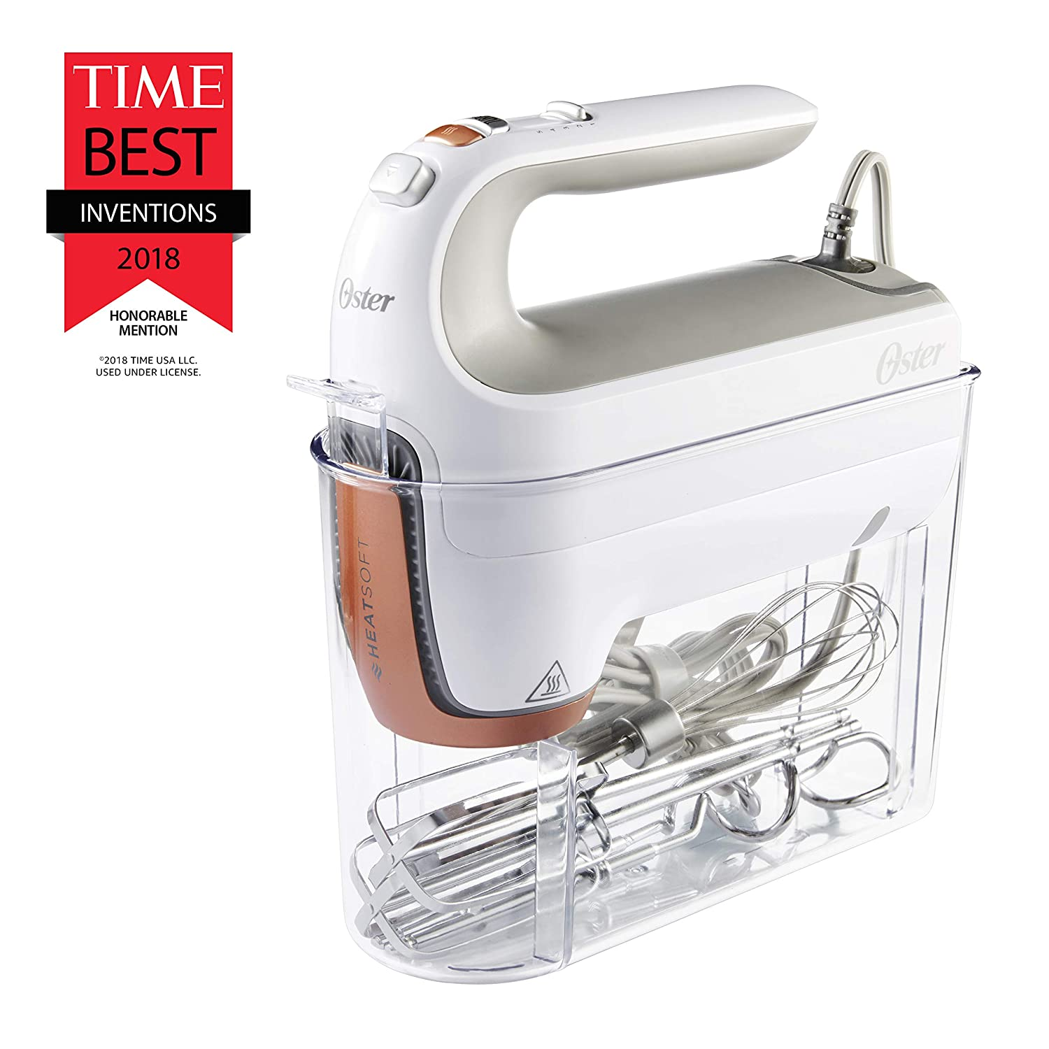 and Storage Case Dough Hooks Oster 270-Watt Hand Mixer with HEATSOFT Technology and Whisk