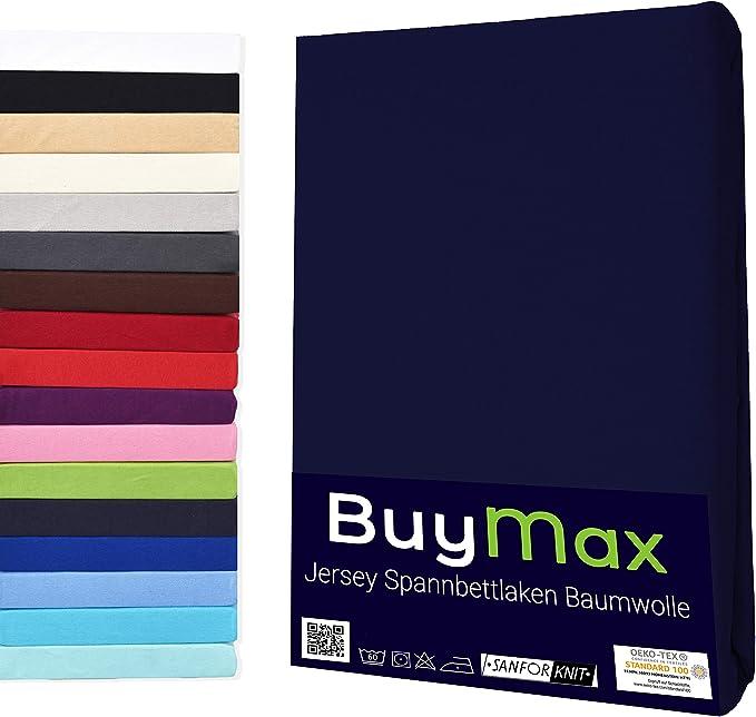 Imagen deJersey-Sábana bajera ajustable (100% algodón, 5tamaños y muchos colores, certificado Öko-Tex), algodón, azul marino, 90x200 - 100x200cm