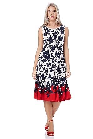 Roman Originals Women Floral Print Sleeveless Midi Skater Dresses ...