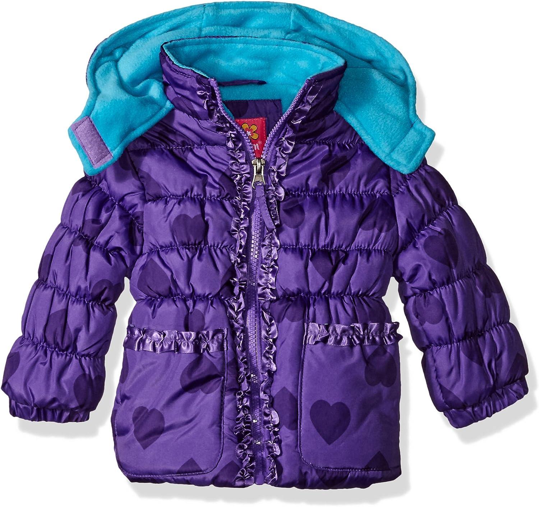Pink Platinum Girls Tonal Heart Print Puffer Jacket Jacket