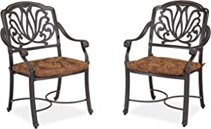 Floral Blossom Charcoal Arm Chair Pair with Cushion by Home Styles