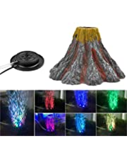 NICREW Aquarium Volcano Ornament Kit, Air Bubbler Decorations for Fish Tank, Aquarium Air Bubbler with Red LED Light