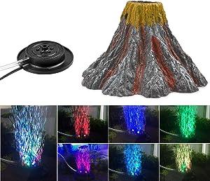 NICREW Aquarium Volcano Ornament Kit, Air Bubbler Decorations for Fish Tank, Aquarium Air Bubbler with LED Light