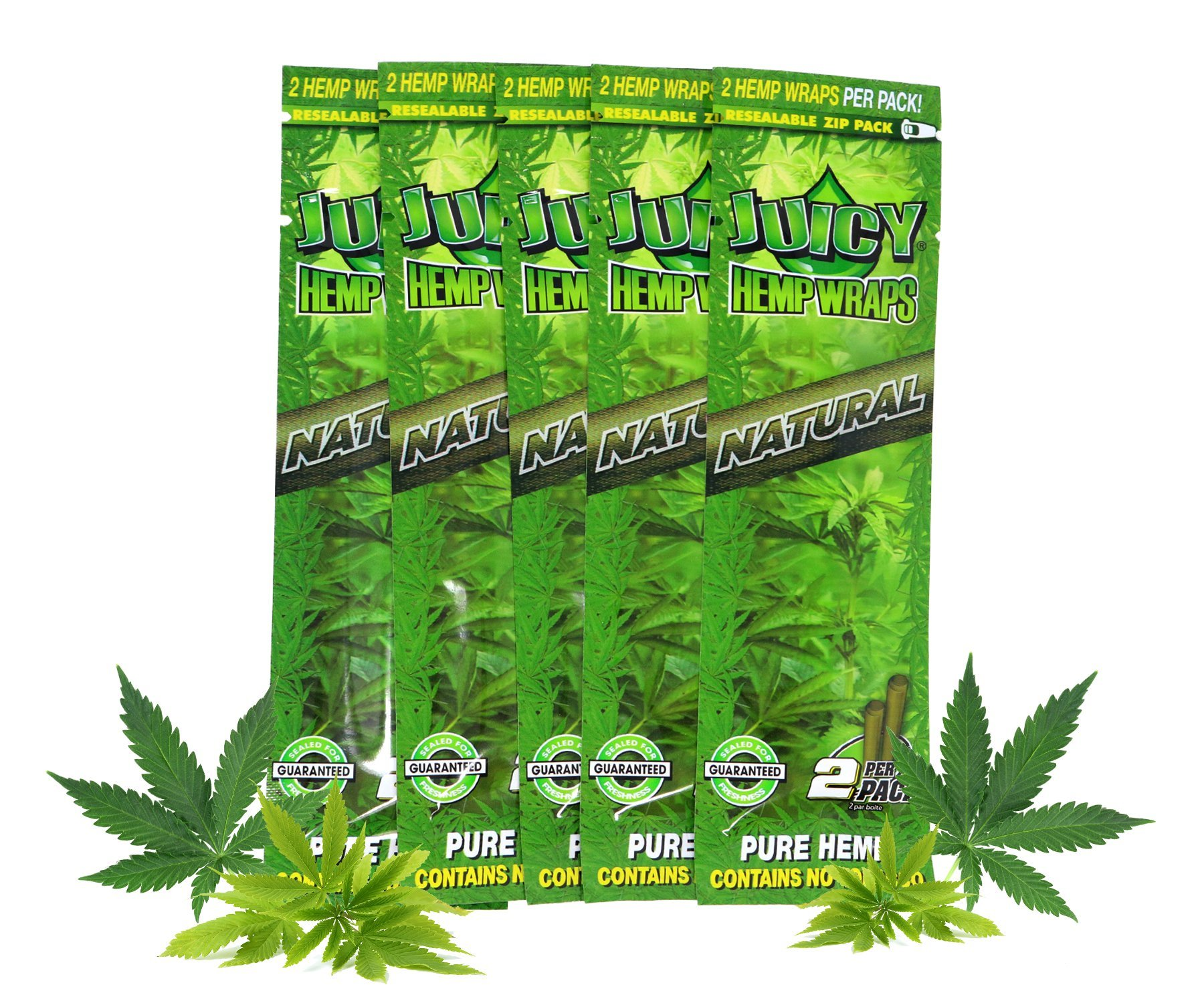 Juicy Jay Hemp Wraps Natural (10 Packs, 2 Wraps Per Pack) Total 20 Wraps with ES Scoop Card