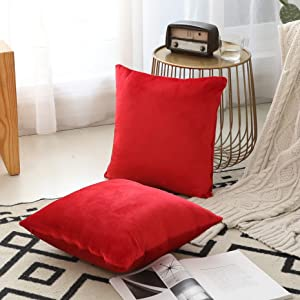 Home Brilliant Set of 2 Christmas Pillow Covers Home Decor Cushion Cover Decorative Pillowcase Throw Pillow Cover for Living Room Bedroom, 18 x 18(45x45cm), Ruby Red
