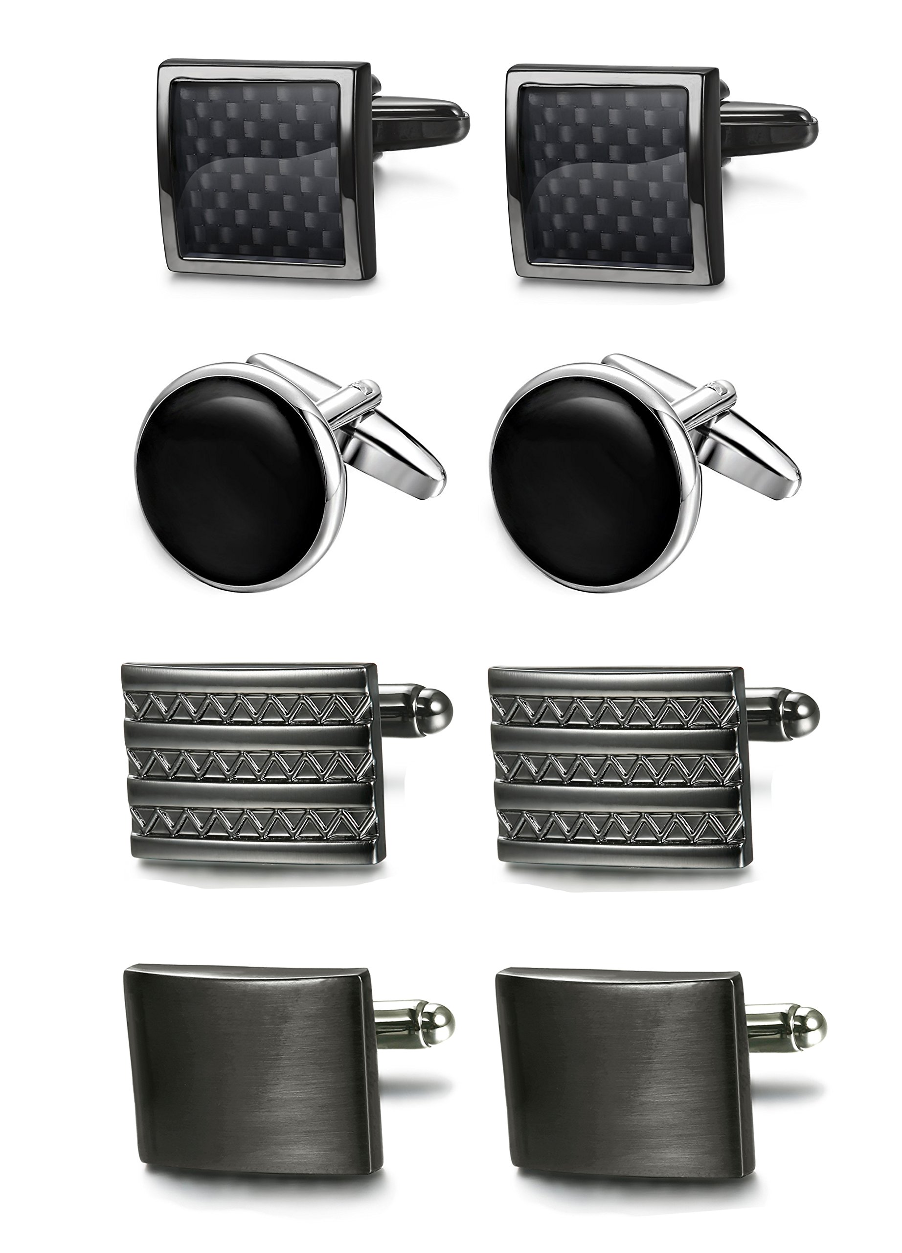 FIBO STEEL Class Cufflinks for Men Black Unique Wedding Cufflink Set Mens Dad Birthday Gifts by FIBO STEEL (Image #1)