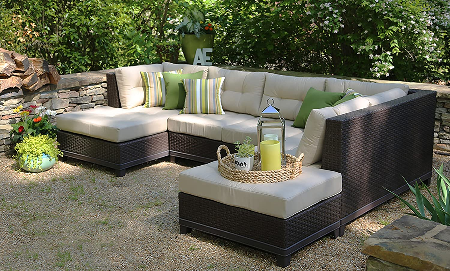 Bon Amazon.com : AE Outdoor 4 Piece All Weather Hillborough Sectional Outdoor  Furniture : Garden U0026 Outdoor
