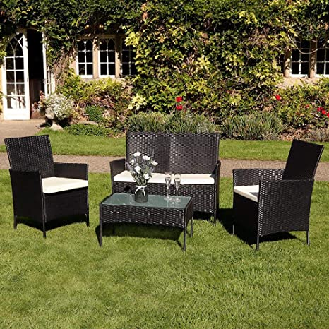 Deals Online 4pc Garden Patio Black Rattan Sofa Set Outdoor