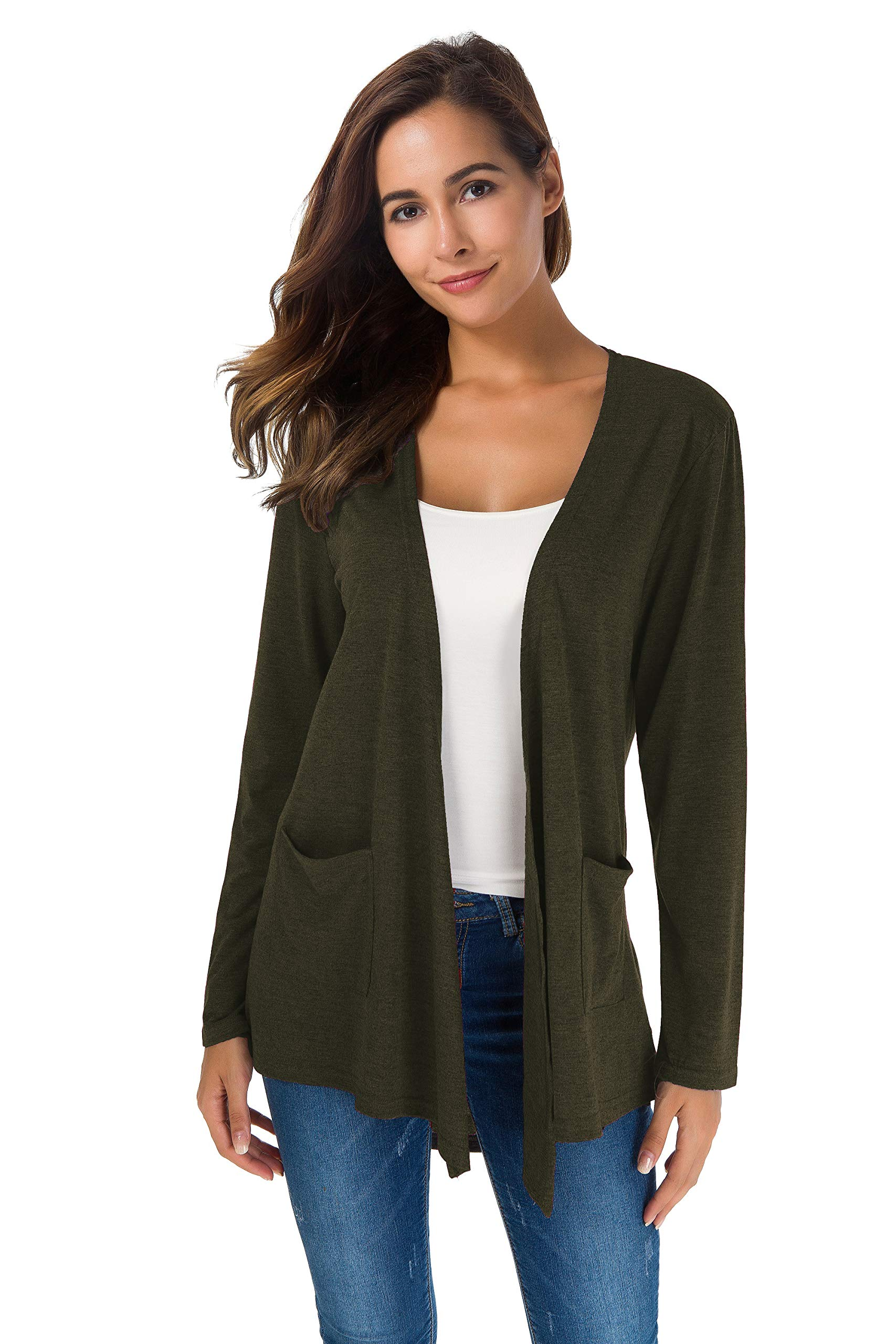 TownCat Women's Loose Casual Long Sleeved Open Front Breathable Cardigans with Pocket (Green1, M)