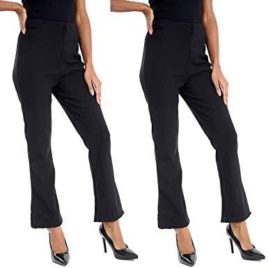 efded5c5e8b VR7 Ladies (Pack of 2) Stretch Bootleg Trousers Ribbed Women Bootcut  Elasticated Waist Pants Work WEAR Pull ON Bottoms Plus Sizes 8-26  Amazon.co .uk  ...