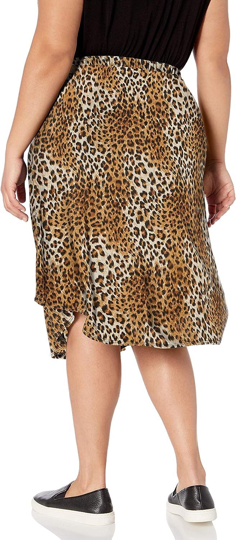 Star Vixen Women's Plus-Size Tie-Waist Ity Stretch Knit A-line Mid-Length Skirt Leopard Print