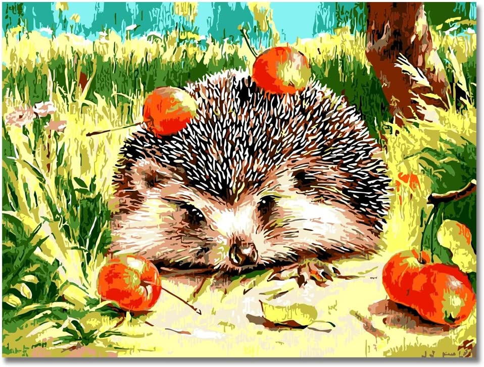 LIUDAO Paint by Number Kit - Hedgehog Apple - Oil Painting on Canvas 16x20 Inches Without Frame