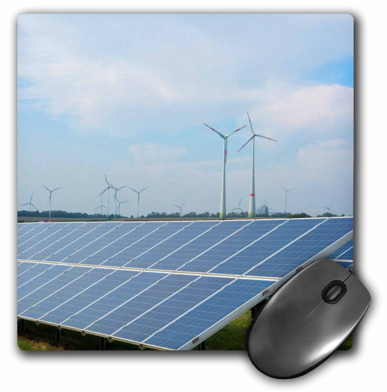 3D Rose Germany Wind Energy Turbines And Solar Panels In Field Hamburg Matte Finish Mouse Pad - 8 x 8 - mp_227343_1