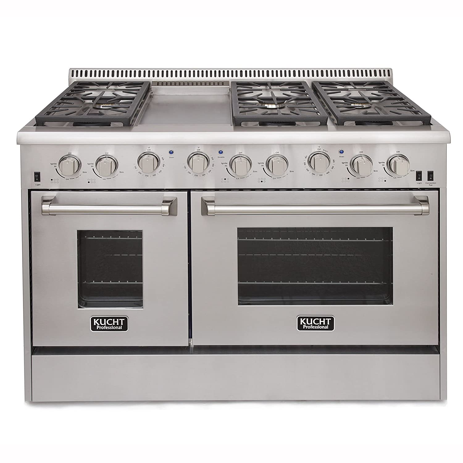 Kucht KRG4804U Professional 48' 6.7 cu. ft. Natural Gas Range with Sealed Burners, Griddle and Two Ovens, Stainless-Steel Kucht Appliances