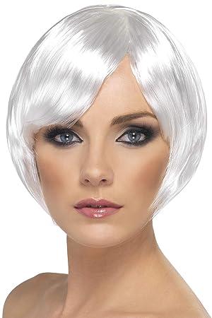 Smiffys Peluca de chica bonita, blanca, corta, corte bob con flequillo