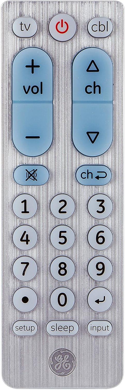 GE Big Button Universal Remote Control for Samsung, Vizio, Lg, Sony, Sharp, Roku, Apple TV, RCA, Panasonic, Smart TVs, Streaming Players, Blu-Ray, DVD, 2-Device, Silver, 33701 (Renewed)