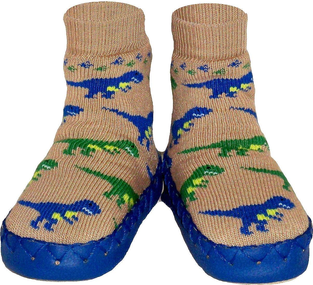 Konfetti Dinosaur Dash Slipper Sock Swedish Moccasin Nowali 369