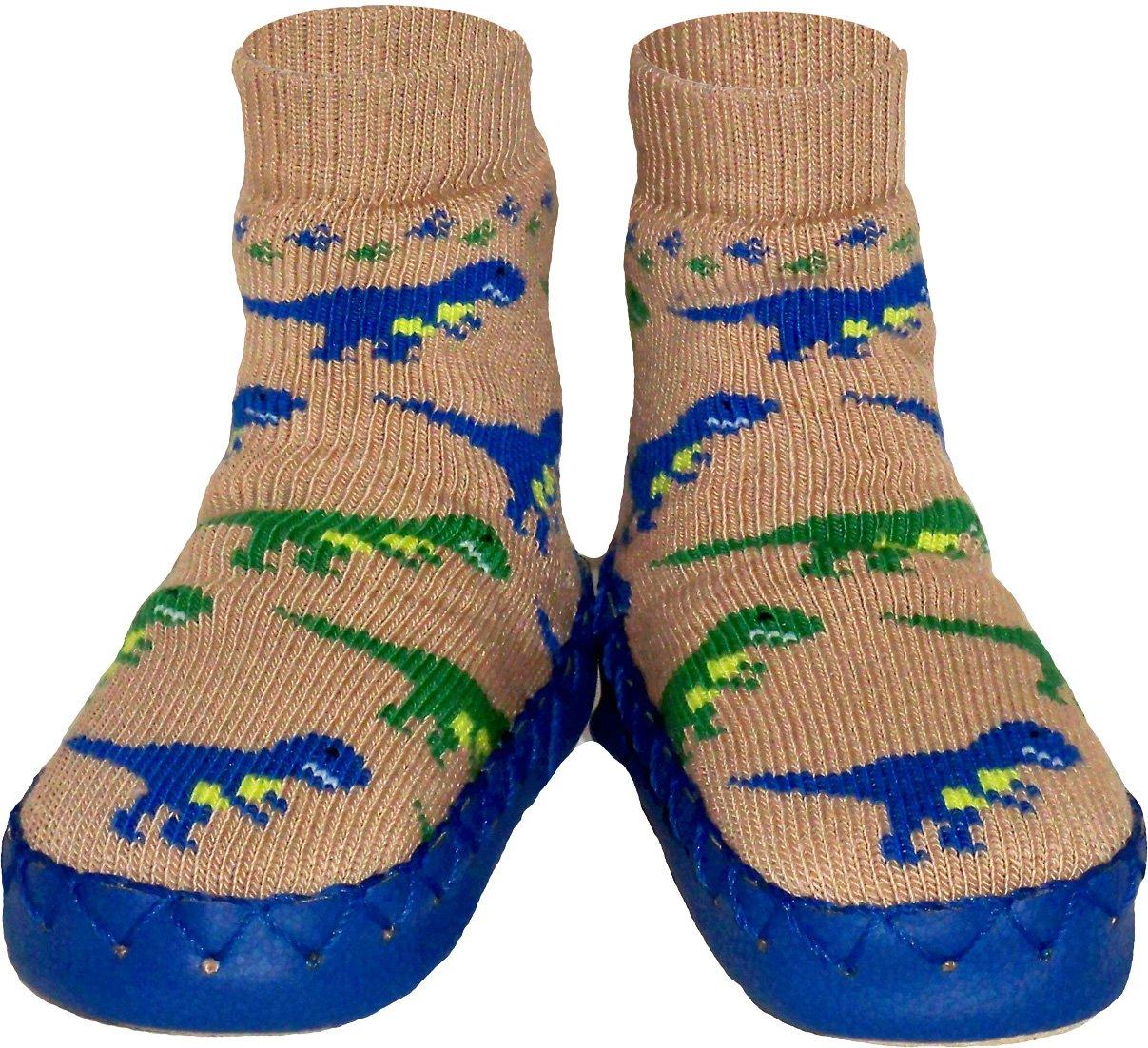 Konfetti Dinosaur Dash Slipper Sock Swedish Moccasin