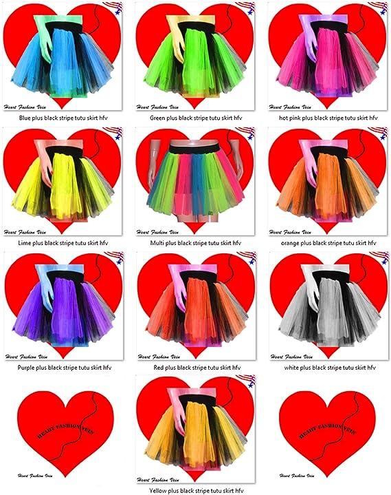 3084f693004 Amazon.com  Plus Size Multi Length 15 Two Layer Three Tone Stripe Tutu Skirt   Sports   Outdoors