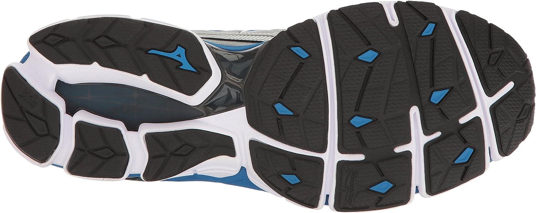 Mizuno Men's Wave Sky Running Shoes Silver Directoire Blue Black