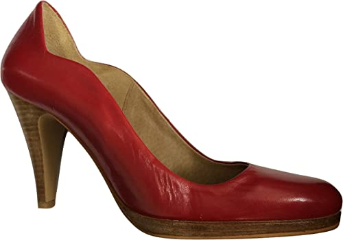 Leather Platform Court Shoes Dark Red