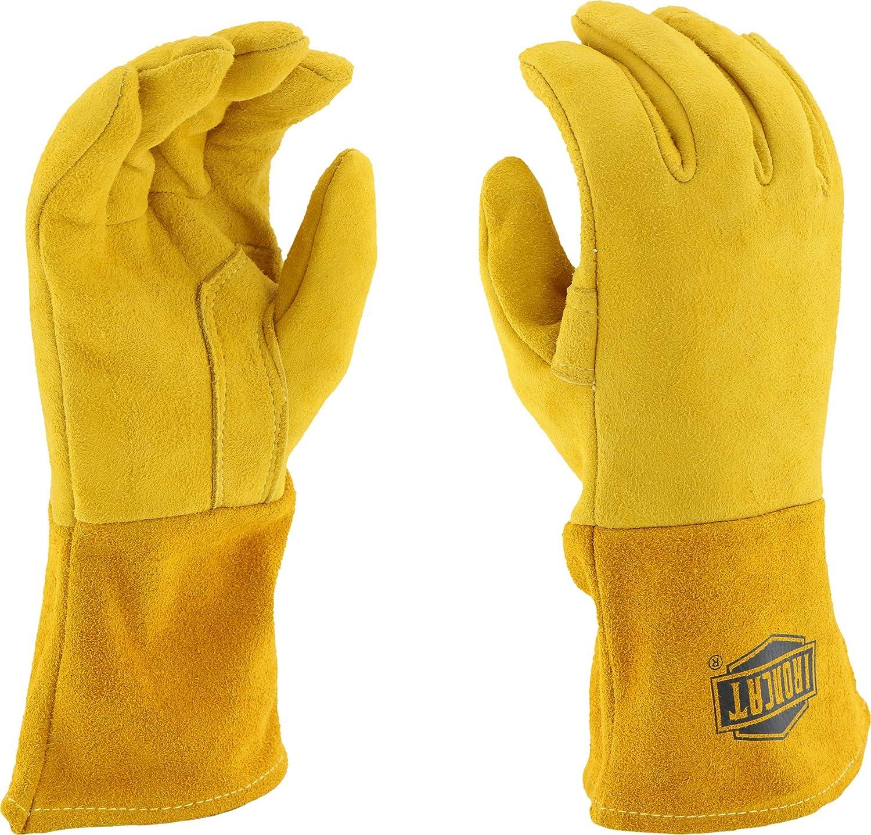 Ironcat 6030 Premium Top Grain Reverse Deerskin Leather MIG - Guantes de soldar, parte trasera aislada, 1 par, L, dorado, 1: Amazon.es: Industria, ...
