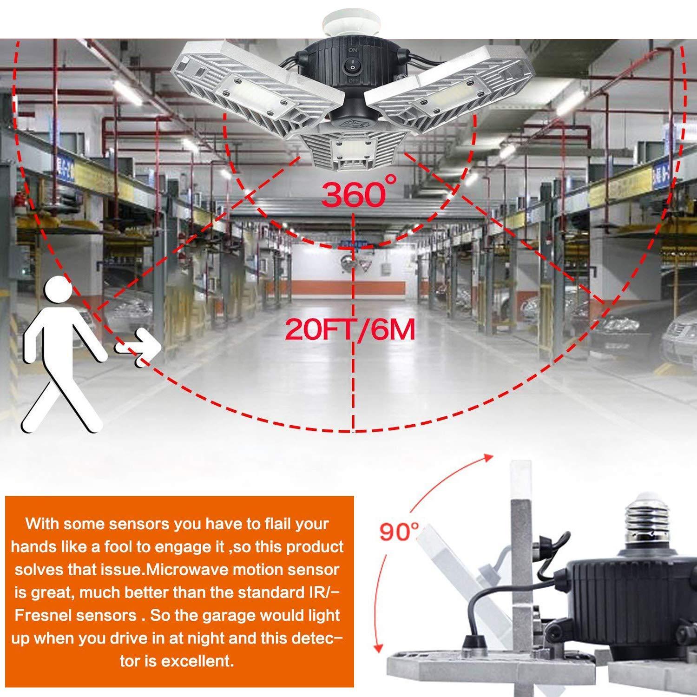Led garage light motion detection motion activated aluminium led best led light bulb for garage 6000lm cri garage led lighting system 3