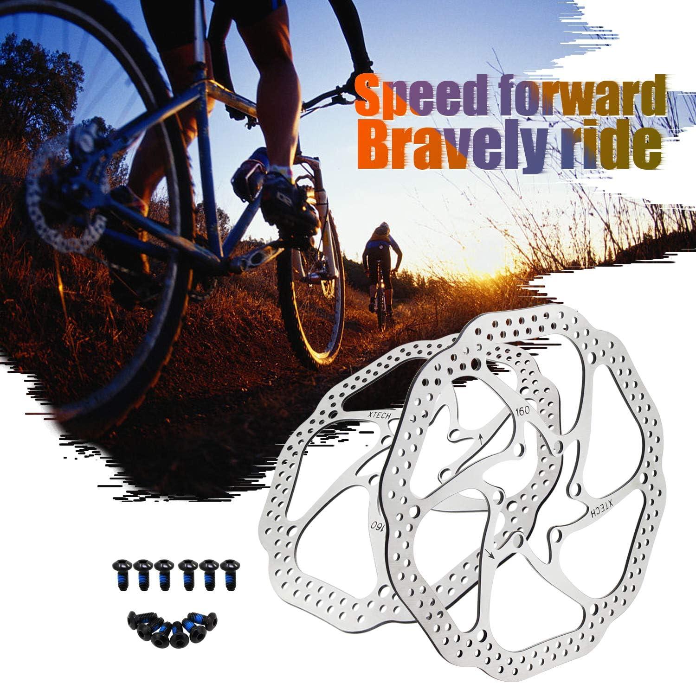 HSeaMall 160 mm 180 mm 203 mm Bicicleta Bicicleta Freno Disco Disco Rotor de bloqueo con tornillos Tornillos de acero inoxidable para bicicleta de carretera BMX 2PCS MTB bicicleta de monta/ña