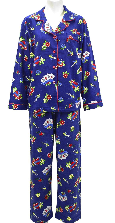 39376fca08205 Leisureland Women's Cotton Flannel Pajama Set Love Heart Tattoo Blue ...