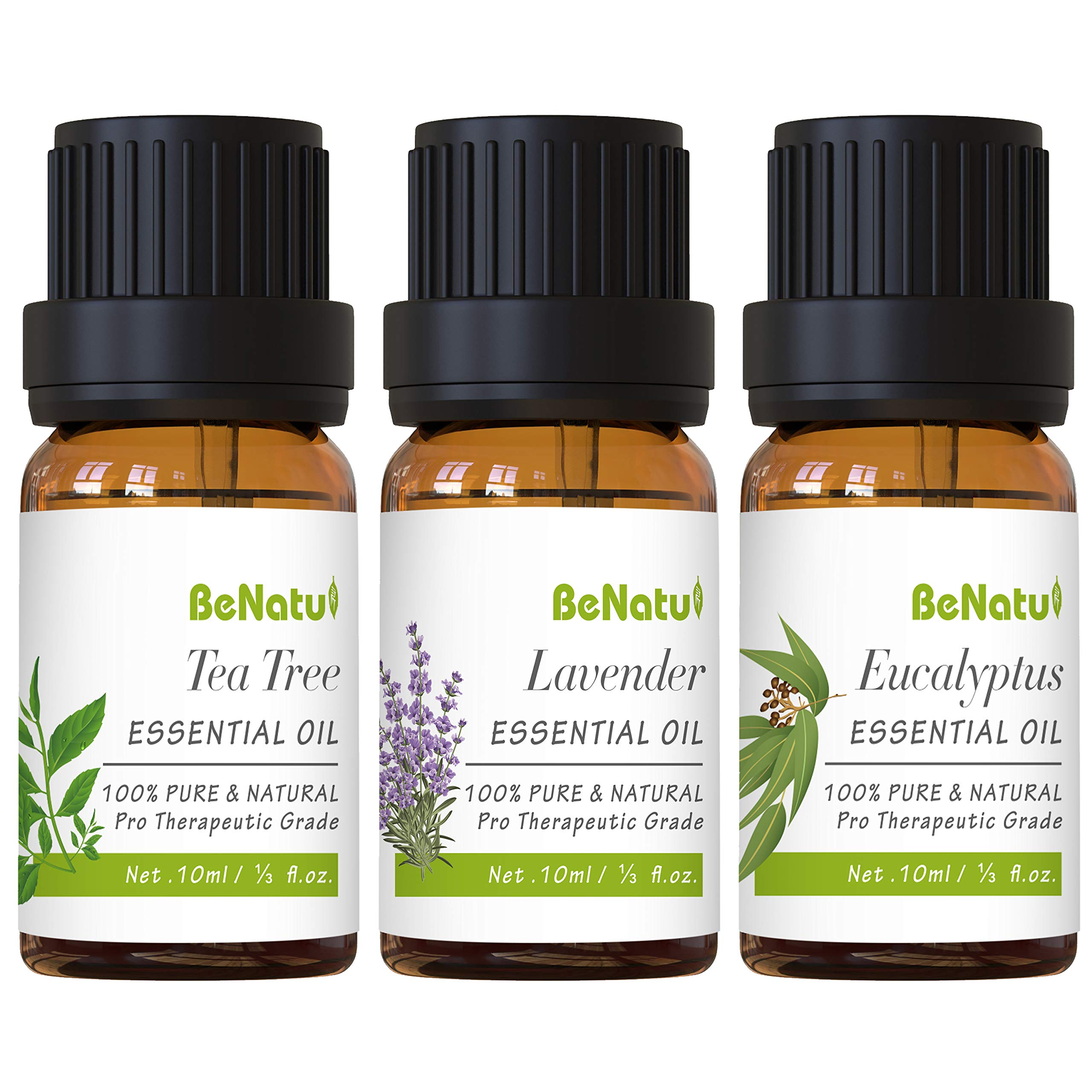 Essential Oils Set (Tea Tree, Lavender, Eucalyptus) for Skin Care, Aromatherapy, Soap Making - Natural & Pure Diffuser Oil for Home, Stress Relief, Anti Acne - by Benatu