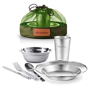 Wealers Unique Complete Messware Kit Polished Stainless Steel Dishes Set| Tableware| Dinnerware| Camping| Buffet| Includes - Cups | Plates| Bowls| Cutlery| Comes in Mesh Bags