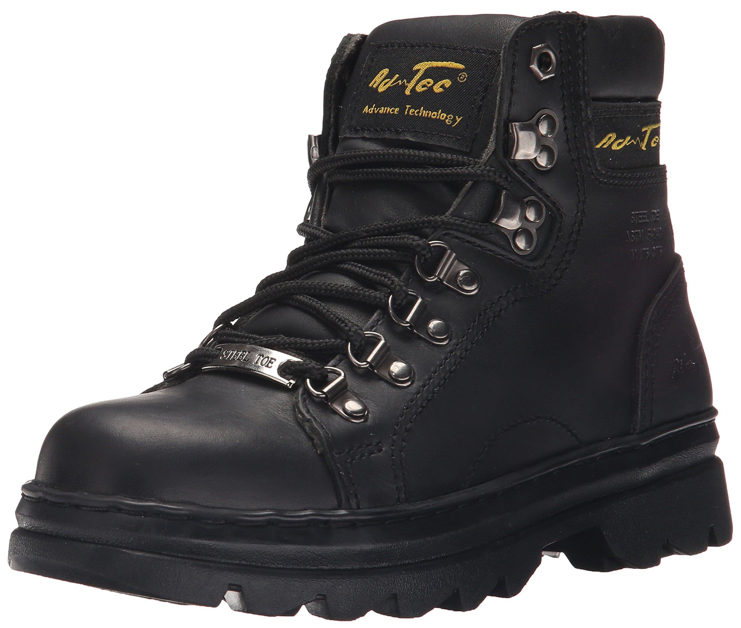 Adtec Women's 6'' Steel Toe Work Work Boot, Black, 8.5 M US