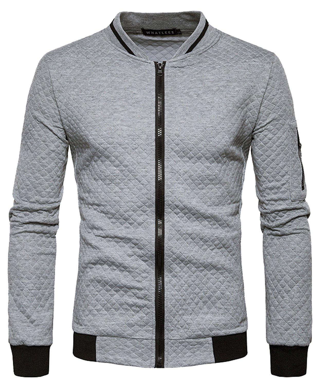 HOP FASHION Mens Casual Long Sleeve Baseball Collar Diamond Design Zipper Up Jacket Elastic Hem Lightweight Sport Cotton Coat With Pockets HOPM035-LightGrey-M