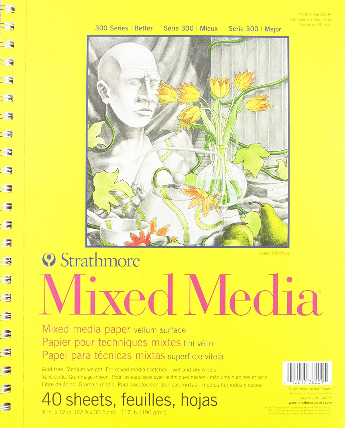 Strathmore 300 Series Mixed Media Pad 40 Sheets 9x12 Wire Bound