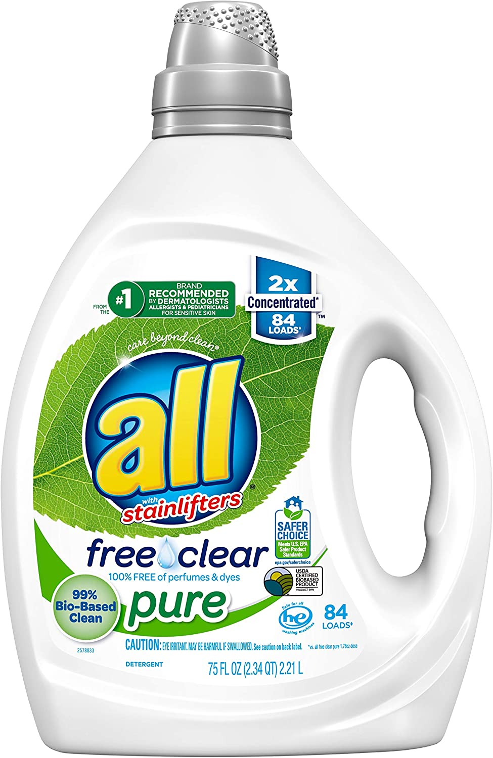 all Liquid Laundry Detergent, Free Clear Pure, 99% Biobased, 2X Concentrated, 84 Loads, 75