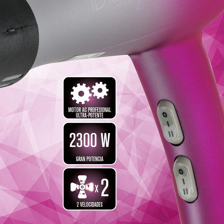 ID Italian Design   Secador de Pelo Silencioso 2 Modos de Calor, 2 Velocidades de Color Rosa - 2300W: Amazon.es: Salud y cuidado personal
