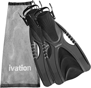 Diving Fins Swim Fins Adjustable Speed Fins Super-soft High Grade Material for Diving Snorkeling Swimming & Watersports. With Mesh Bag Ivation