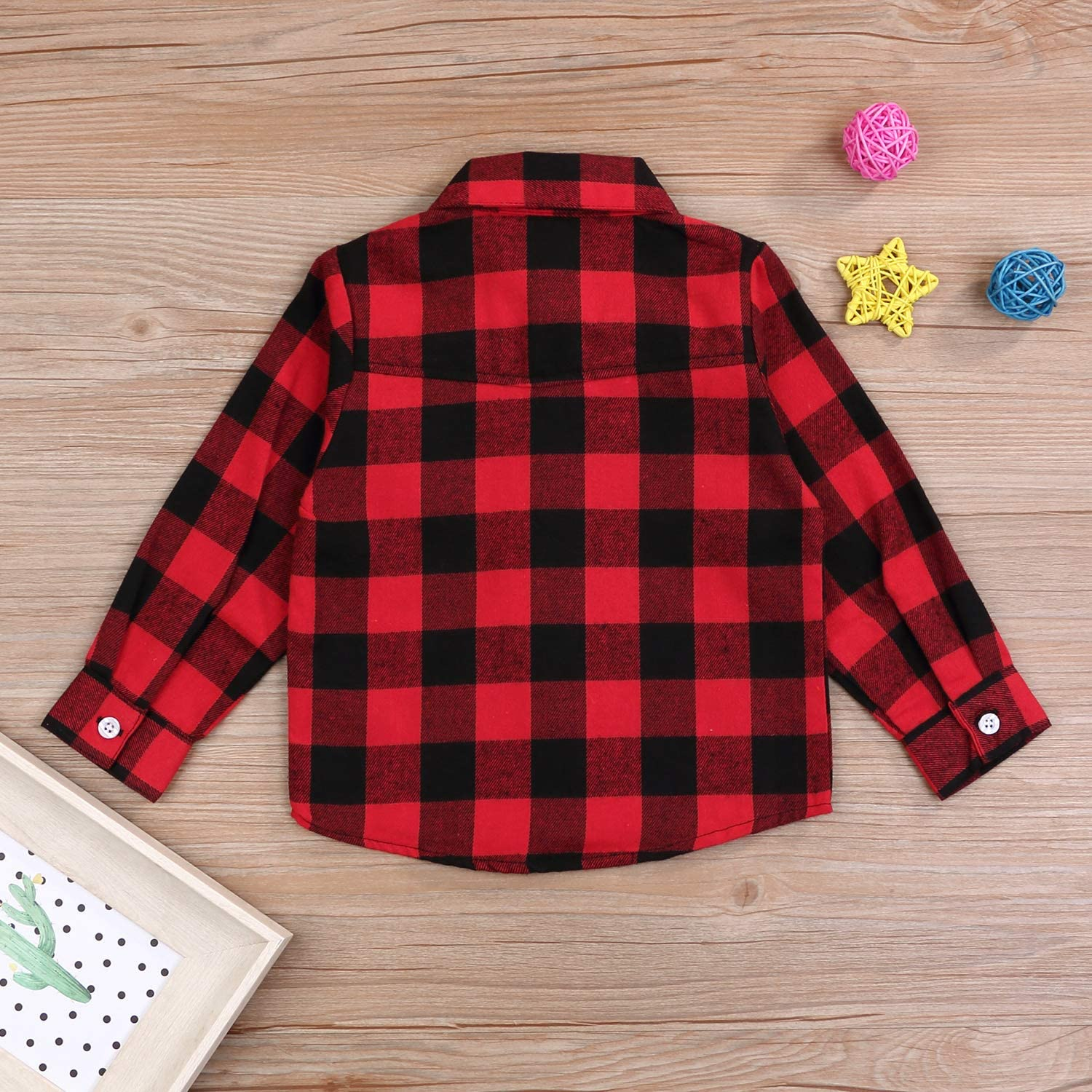 Kids Little Boys Girls Baby Long Sleeve Button Down Red Plaid Flannel Shirt Plaid Girl Boy NB-6T Red, 4T 3-4 Years