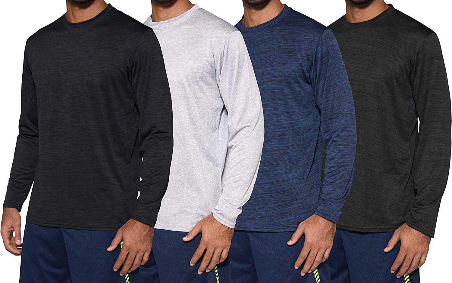 4 Pack Mens Dry-Fit Moisture Wicking Performance Long Sleeve T-Shirt UV Sun Protection Outdoor Active Athletic Crew Top