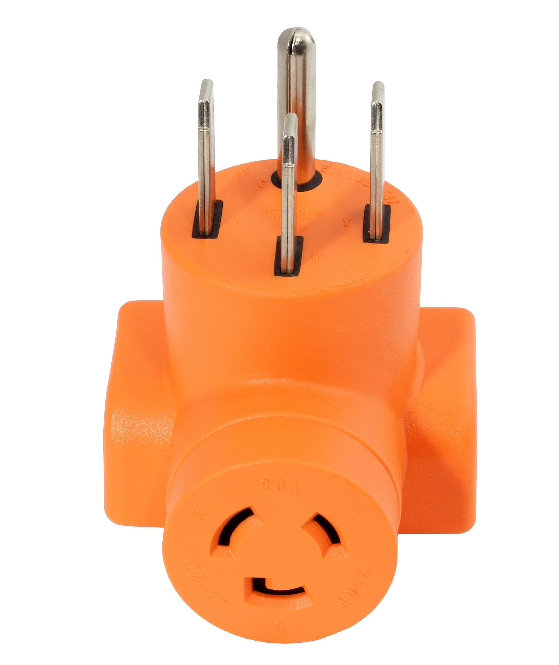 AC WORKS [AD1450L620] Plug Adapter NEMA 14-50P 50Amp 125/250Volt Range/RV/Generator Power Plug to NEMA L6-20R 20Amp 250Volt Locking Female Connector Adapter
