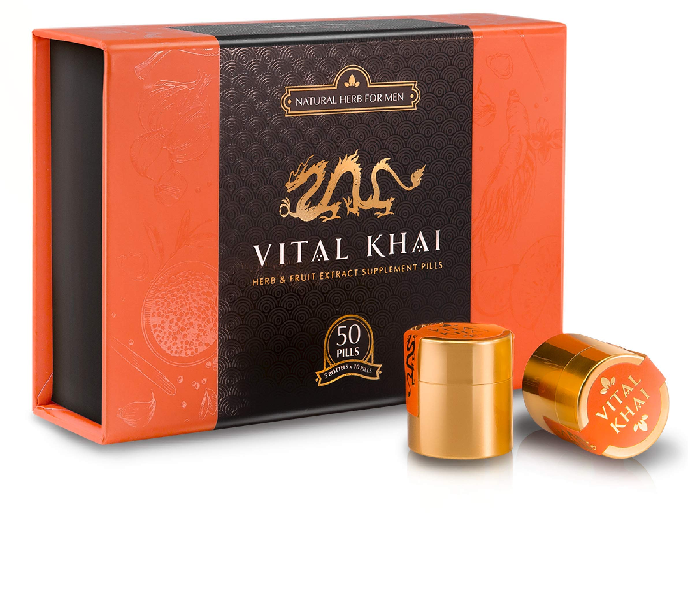 Vital Khai Box - Natural and Herbal Supplement for Men - Increase Energy, Stamina and Health (Full Box, 50 Supplements)