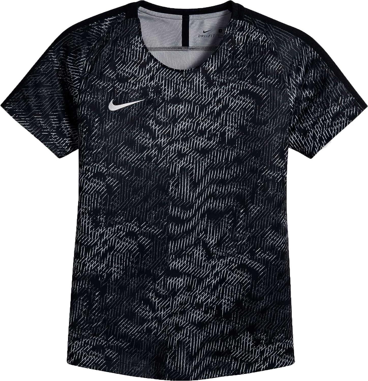 Nike Girls ' Dry AcademyサッカーTシャツ B0798KJGFL Small|Darkgrey/White/Black Darkgrey/White/Black Small