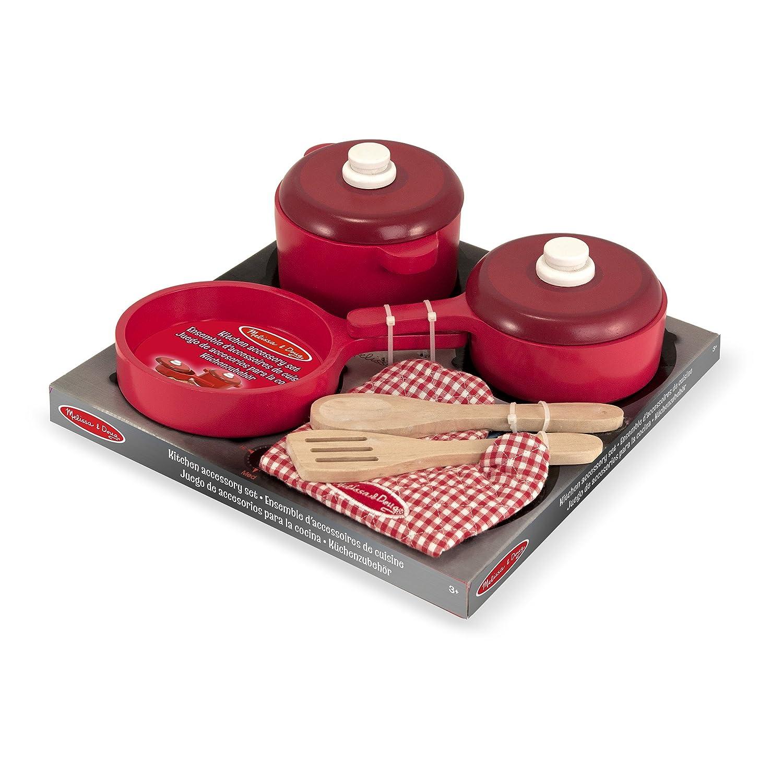 melissa doug deluxe wooden kitchen accessory set pots pans