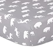 Woodland Trail Animal Silhouette Grey Forest Animal Theme Fitted Crib Sheet