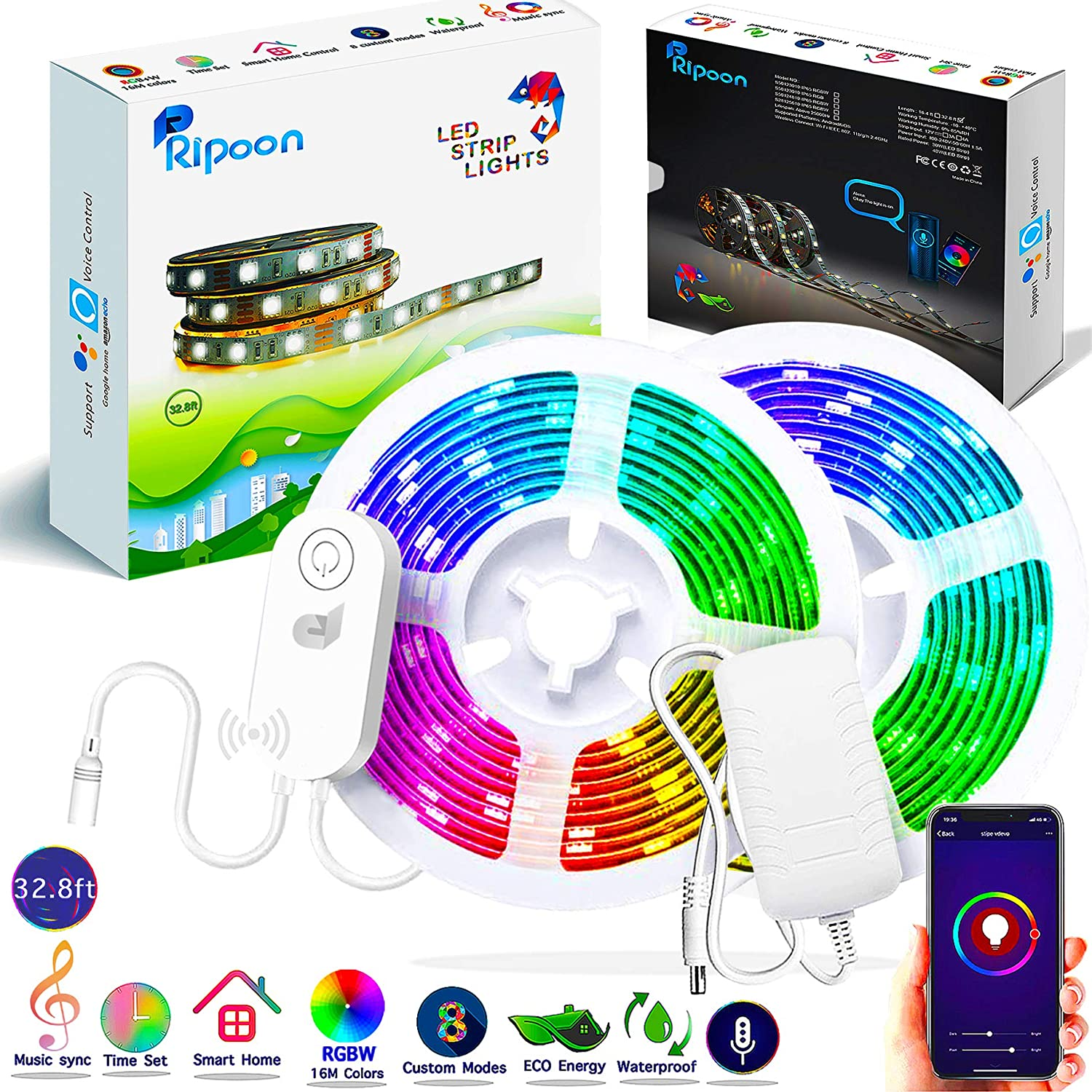 Ripoon Smart LED Strip Lights   32.8ft RGB W LED Light Strip Flexible Color Changing Light Music Sync   Waterproof Rope Lights Kit App Controlled, Work with Alexa Google Home   Strong 3M Adhesive Tape