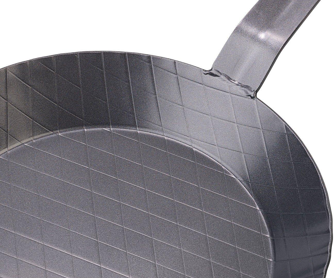 Tornwald-Schmiede Stahlpfanne: Kaltgeschmiedete Bratpfanne mit Rauten-Pr/ägung Kalt Geschmiedete Eisen Pfannen /Ø 28 cm 3,5 cm hoch